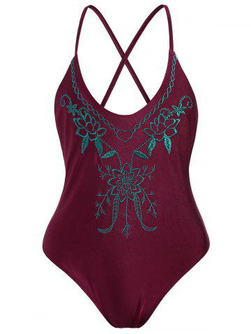 Fancy Cross Back Embroidered Plus Size Swimsuit - XL WINE RED Mobile