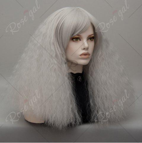 Best Long Side Bang Fluffy Curly Wave Lolita Cosplay Wig - SILVER GRAY  Mobile