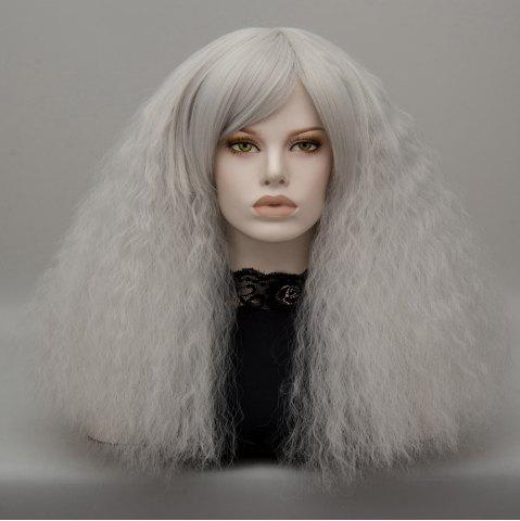 Unique Long Side Bang Fluffy Curly Wave Lolita Cosplay Wig - SILVER GRAY  Mobile