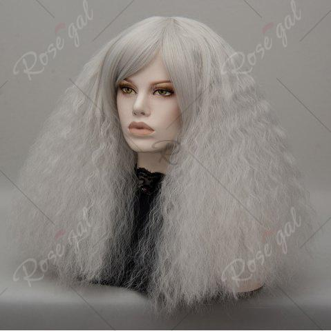 Shops Long Side Bang Fluffy Curly Wave Lolita Cosplay Wig - SILVER GRAY  Mobile
