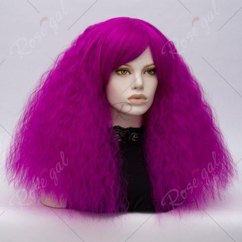 Buy Long Side Bang Fluffy Curly Wave Lolita Cosplay Wig - BRIGHT PURPLE  Mobile