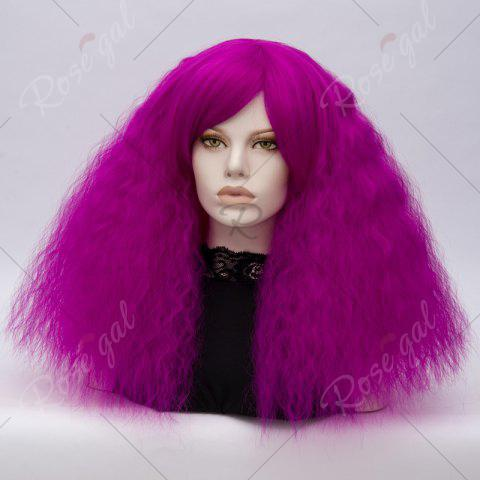 Hot Long Side Bang Fluffy Curly Wave Lolita Cosplay Wig - BRIGHT PURPLE  Mobile