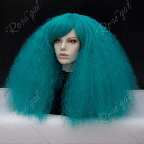 Affordable Long Side Bang Fluffy Curly Wave Lolita Cosplay Wig - GREEN  Mobile