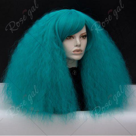 Discount Long Side Bang Fluffy Curly Wave Lolita Cosplay Wig - GREEN  Mobile