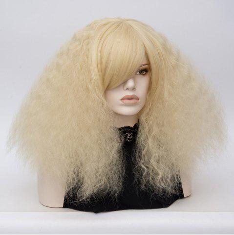 Fancy Long Side Bang Fluffy Curly Wave Lolita Cosplay Wig - LIGHT GOLD  Mobile