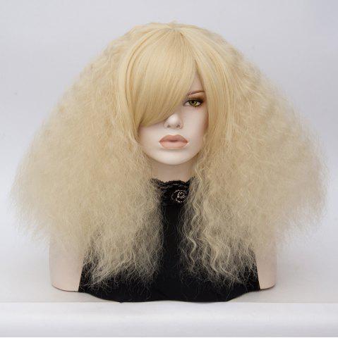 Affordable Long Side Bang Fluffy Curly Wave Lolita Cosplay Wig - LIGHT GOLD  Mobile