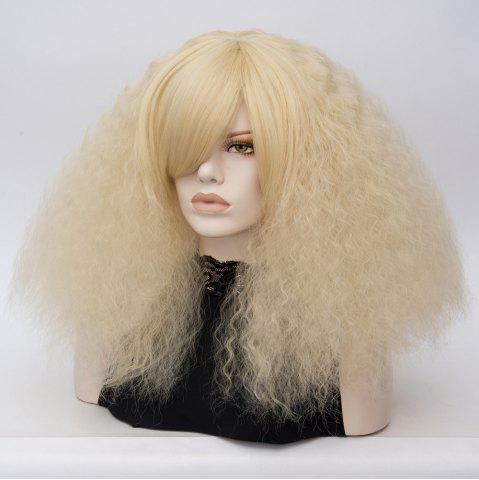 Trendy Long Side Bang Fluffy Curly Wave Lolita Cosplay Wig - LIGHT GOLD  Mobile