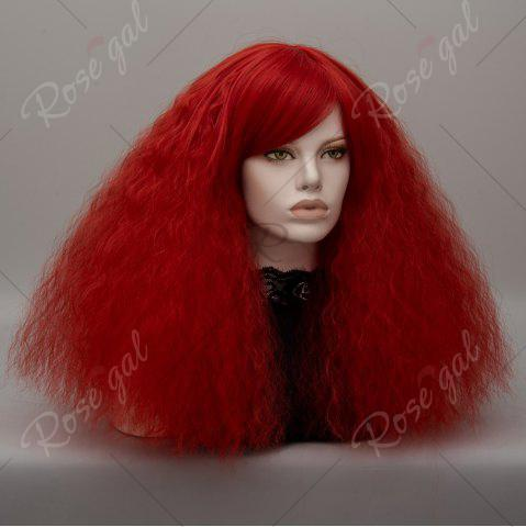 Shop Long Side Bang Fluffy Curly Wave Lolita Cosplay Wig - RED  Mobile