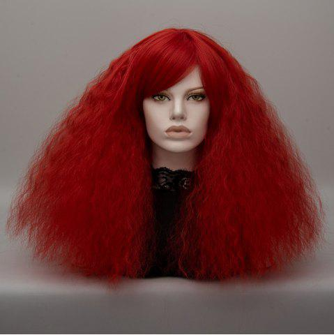 Trendy Long Side Bang Fluffy Curly Wave Lolita Cosplay Wig - RED  Mobile
