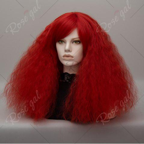 Hot Long Side Bang Fluffy Curly Wave Lolita Cosplay Wig - RED  Mobile