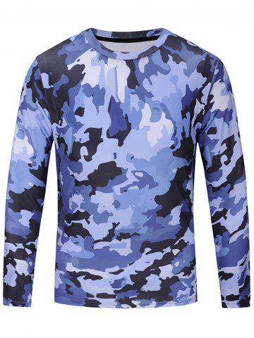 Discount Camouflage Print Long Sleeve T-shirt BLUE L