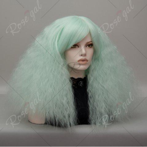 Chic Long Side Bang Fluffy Curly Wave Lolita Cosplay Wig - NEON GREEN  Mobile