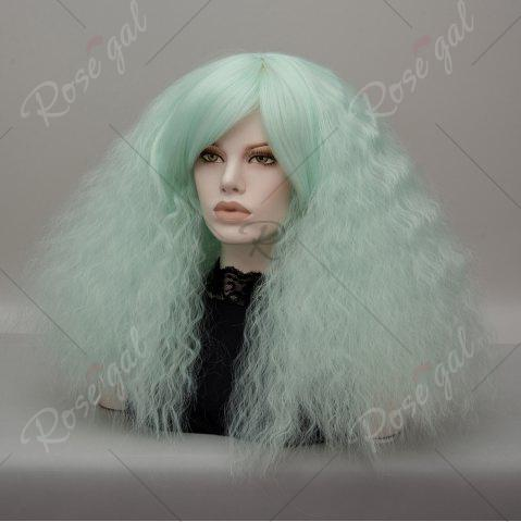 Discount Long Side Bang Fluffy Curly Wave Lolita Cosplay Wig - NEON GREEN  Mobile