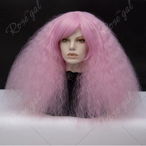 Cheap Long Side Bang Fluffy Curly Wave Lolita Cosplay Wig - PINKISH PURPLE  Mobile