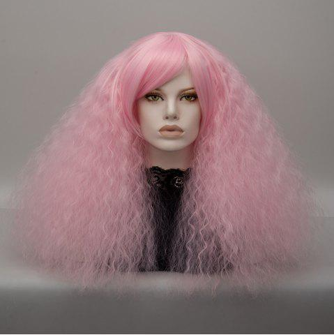 Long Side Bang Fluffy Curly Wave Lolita Cosplay Wig - Light Pink
