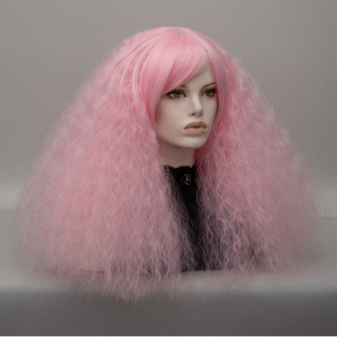 Affordable Long Side Bang Fluffy Curly Wave Lolita Cosplay Wig - LIGHT PINK  Mobile