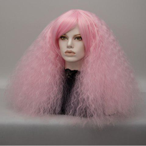 Unique Long Side Bang Fluffy Curly Wave Lolita Cosplay Wig - LIGHT PINK  Mobile