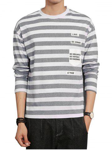 Cheap Long Sleeve Graphic Print Stripe T-shirt GRAY M