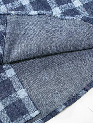 Shops Long Sleeve Checked Chambray Shirt - M BLUE Mobile