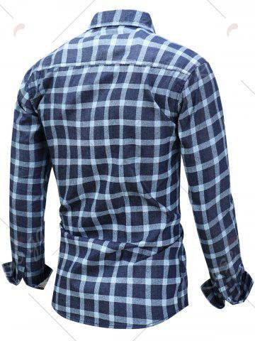 Latest Long Sleeve Checked Chambray Shirt - M BLUE Mobile