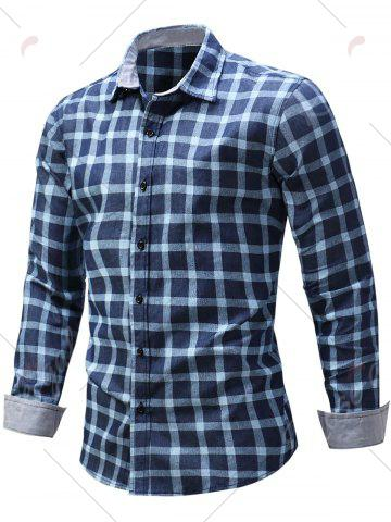 Chic Long Sleeve Checked Chambray Shirt - M BLUE Mobile