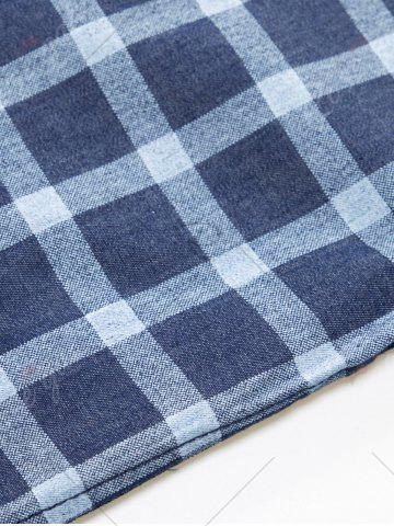 Unique Long Sleeve Checked Chambray Shirt - M BLUE Mobile