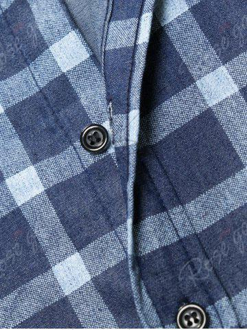 Shop Long Sleeve Checked Chambray Shirt - M BLUE Mobile