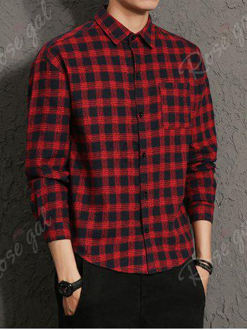 New Cotton Blends Long Sleeve Checked Shirt - M RED Mobile