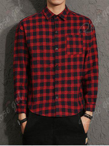 Affordable Cotton Blends Long Sleeve Checked Shirt - M RED Mobile