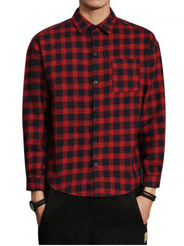 Shops Cotton Blends Long Sleeve Checked Shirt - M RED Mobile