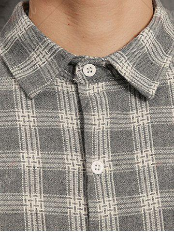 Discount Cotton Blends Long Sleeve Checked Shirt - 3XL GRAY Mobile