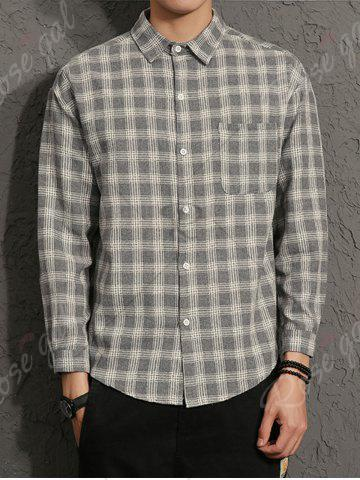 Buy Cotton Blends Long Sleeve Checked Shirt - 3XL GRAY Mobile