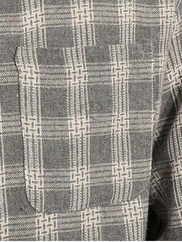 Affordable Cotton Blends Long Sleeve Checked Shirt - 3XL GRAY Mobile