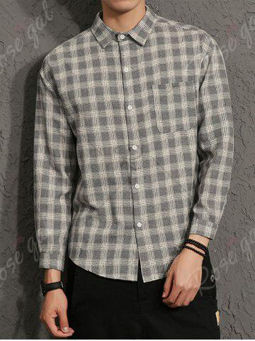 Hot Cotton Blends Long Sleeve Checked Shirt - 3XL GRAY Mobile