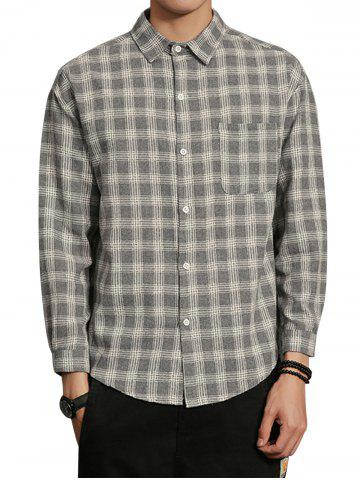 Trendy Cotton Blends Long Sleeve Checked Shirt - 3XL GRAY Mobile