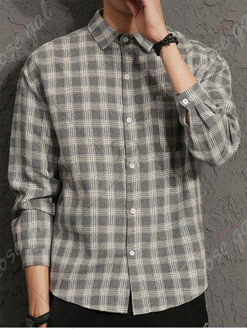 Best Cotton Blends Long Sleeve Checked Shirt - 3XL GRAY Mobile