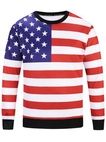 Shop American Flag Patriotic Sweatshirt - L COLORMIX Mobile