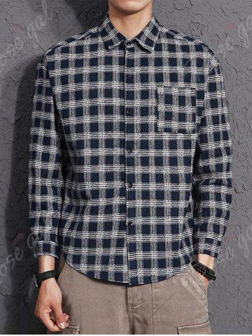 Affordable Cotton Blends Long Sleeve Checked Shirt - 3XL CERULEAN Mobile
