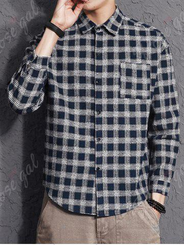 New Cotton Blends Long Sleeve Checked Shirt - 3XL CERULEAN Mobile
