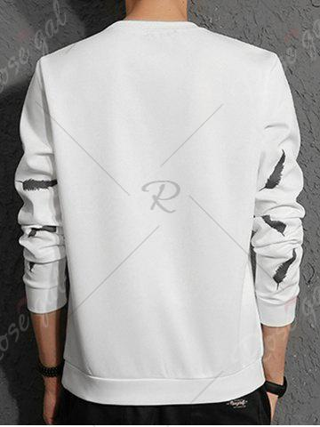 Chic Feather Graphic Embroidered Sweatshirt - L WHITE Mobile