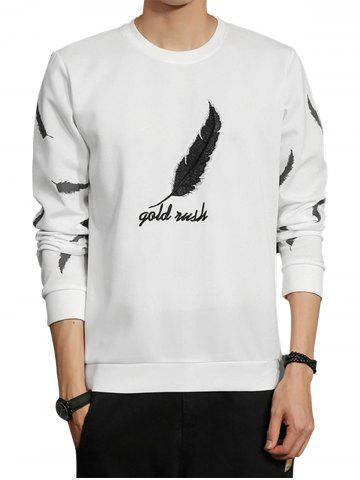 Cheap Feather Graphic Embroidered Sweatshirt - L WHITE Mobile