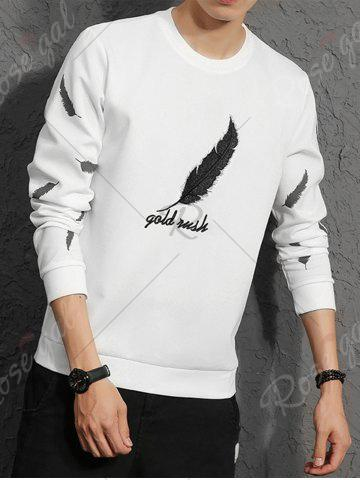 Sale Feather Graphic Embroidered Sweatshirt - L WHITE Mobile