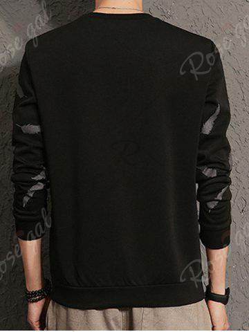 Sale Feather Graphic Embroidered Sweatshirt - 5XL BLACK Mobile