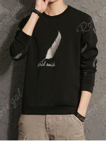 Cheap Feather Graphic Embroidered Sweatshirt - 5XL BLACK Mobile