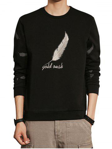 Unique Feather Graphic Embroidered Sweatshirt - 5XL BLACK Mobile