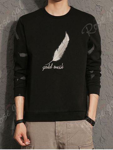 Fashion Feather Graphic Embroidered Sweatshirt - 5XL BLACK Mobile