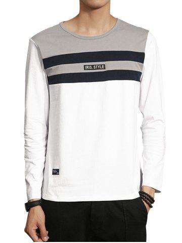 Best Color Block Stripe Panel Applique T-shirt - L WHITE Mobile