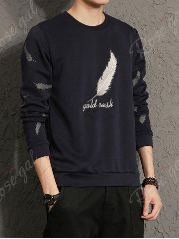 Online Feather Graphic Embroidered Sweatshirt - 5XL CADETBLUE Mobile