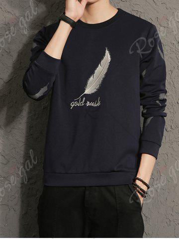 Trendy Feather Graphic Embroidered Sweatshirt - 5XL CADETBLUE Mobile