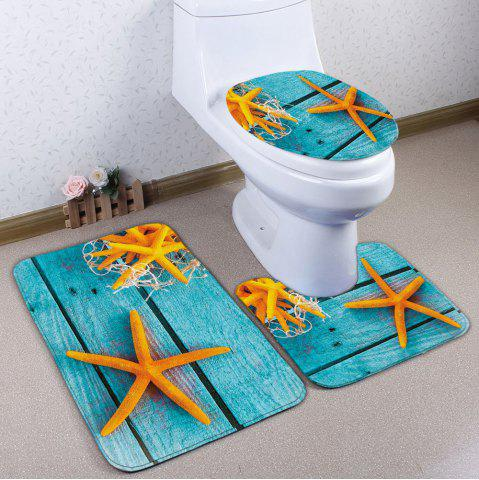 Trendy Starfish Plank Print Flannel 3Pcs/Set Bath Toilet Rugs TURQUOISE